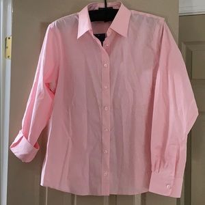 NWT Size 14P Lands' End Pink long sleeve oxford